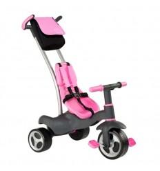 Triciclo con cinturones y bolsa rosa
