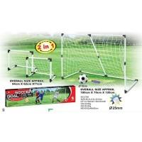 Portería futbol 2 en 1 con pelota e inflador 185x7