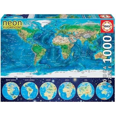 1000 mapamundi físico neón
