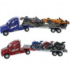47 cm camion y trailer con 3 motos o 2 f1