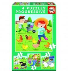 Puzzle 6-9-12-16 animales de la granja