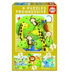 Puzzle 12-16-20-25 animales salvajes