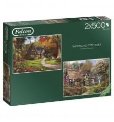 Puzzle 2x500 woodlandcoltages -falcon - jumbo