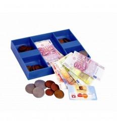 Caja con billetes y monedas