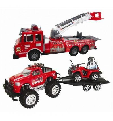 Set bomberos: camión, off roader, remolque y quad