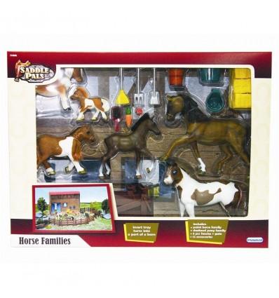Familia caballos con establo y accesorios