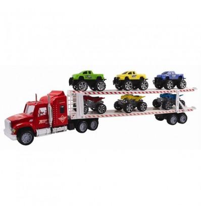 Camión transportador 58 cm c/3 pick ups y 3 quads