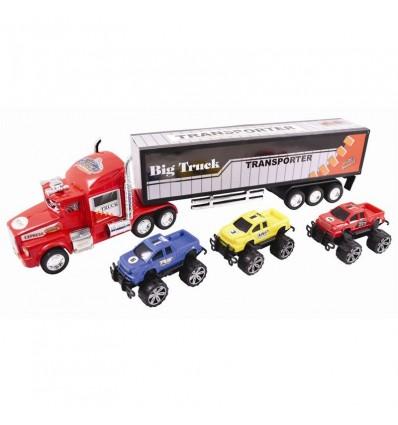 Camión transportador con 3 vehículos
