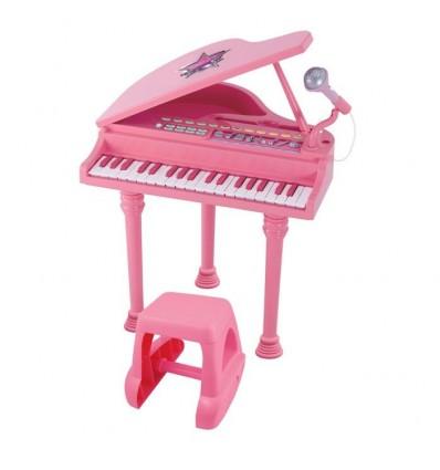 Piano con taburete rosa