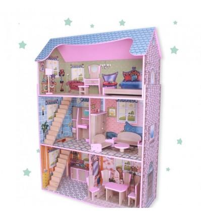 Casa de madera de muñecas con muebles