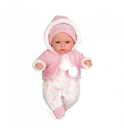 Muñeca erea 33 cm rosa llora