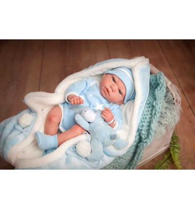 Reborn Carlos con manta y peluche 40 cm