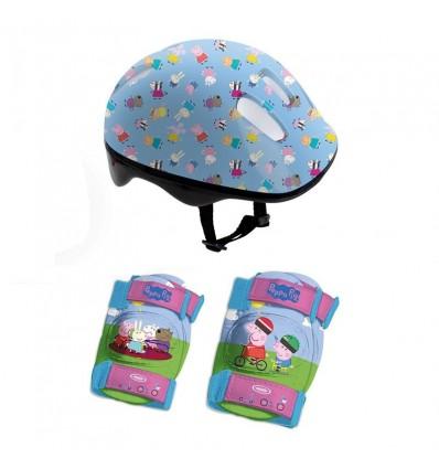 Casco y protecciones peppa pig en mochila