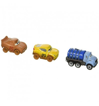 Pack 3 Cars mini racers muddy lightning mcqueen