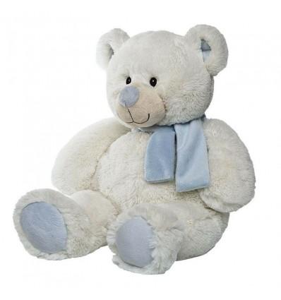 Oso blanco bufanda marfil celeste 50 cm
