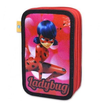 Estuche 3 pisos glitter ladybug