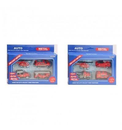 Caja 3 vehiculos y helicoptero 1:64