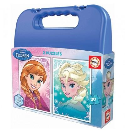 Puzzle maleta 2 x 20 frozen azul