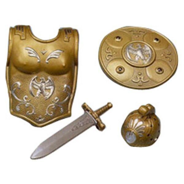 Coraza, escudo, casco y espada romano